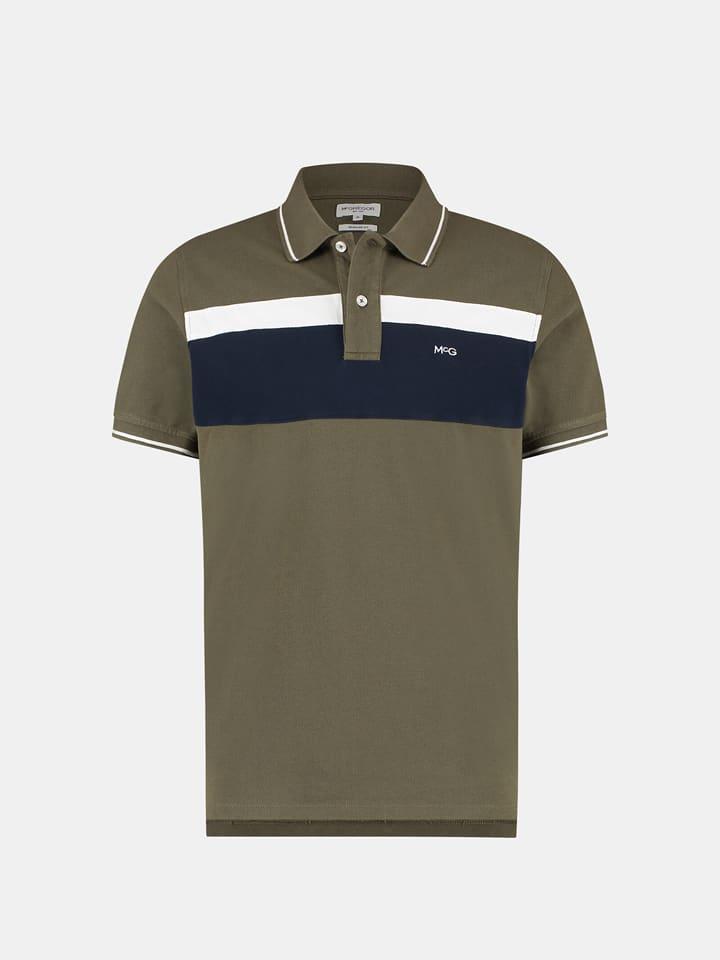 McGregor Koszulka polo w kolorze oliwkowo-czarno-białym