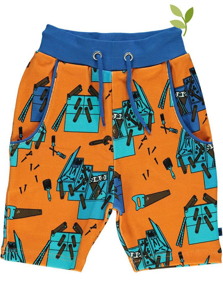 Småfolk Sweatshort oranje/blauw
