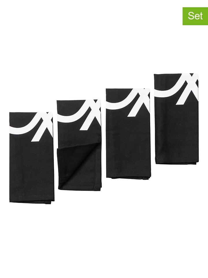 Benetton 4-delige set: placemats zwart/wit - (L)45 x (B)30 cm