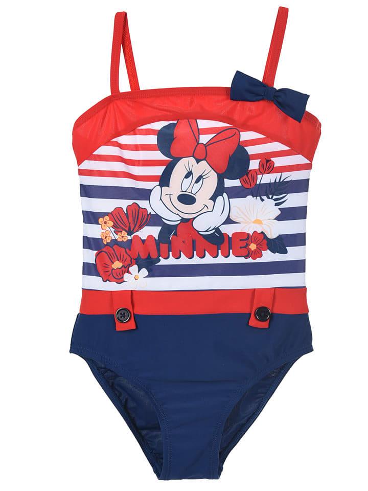 """Disney Minnie Mouse Strój kąpielowy """"Minnie Mouse"""" w kolorze granatowo-czerwonym"""