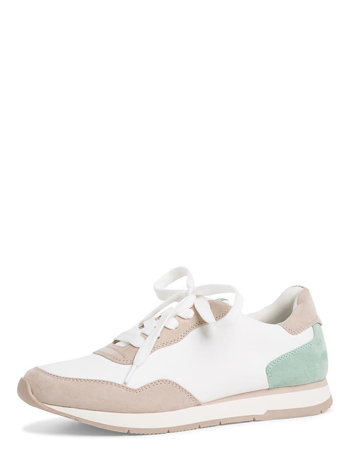 Tamaris Skórzane sneakersy w kolorze biało-jasnoróżowym