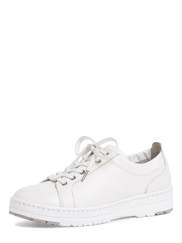 Tamaris Skórzane sneakersy w kolorze białym