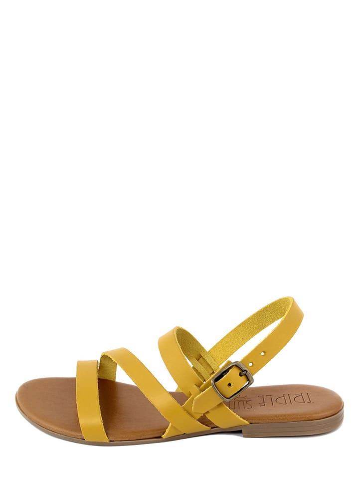 Leren sandalen geel