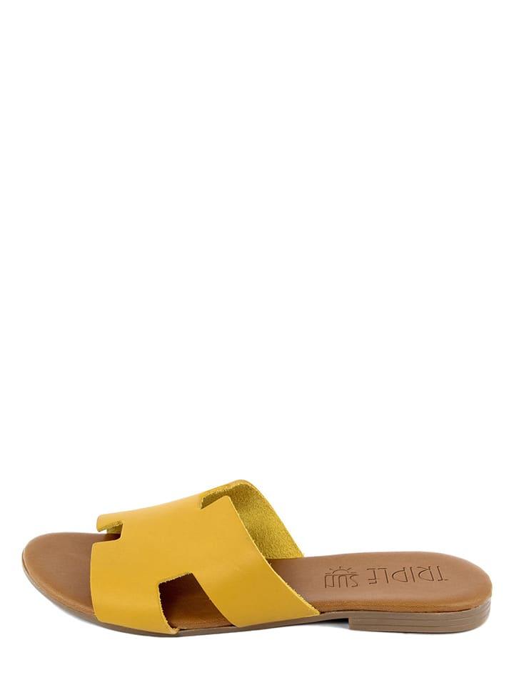 Triple Sun Leren slippers geel