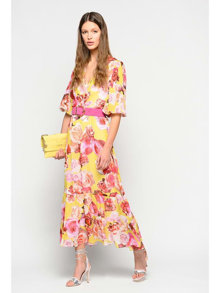 Pinko Kleid in Gelb/ Pink/ Bunt