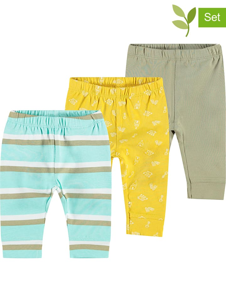 "Name it 3-delige set: lange onderbroeken ""Henri"" kaki/geel/turquoise"