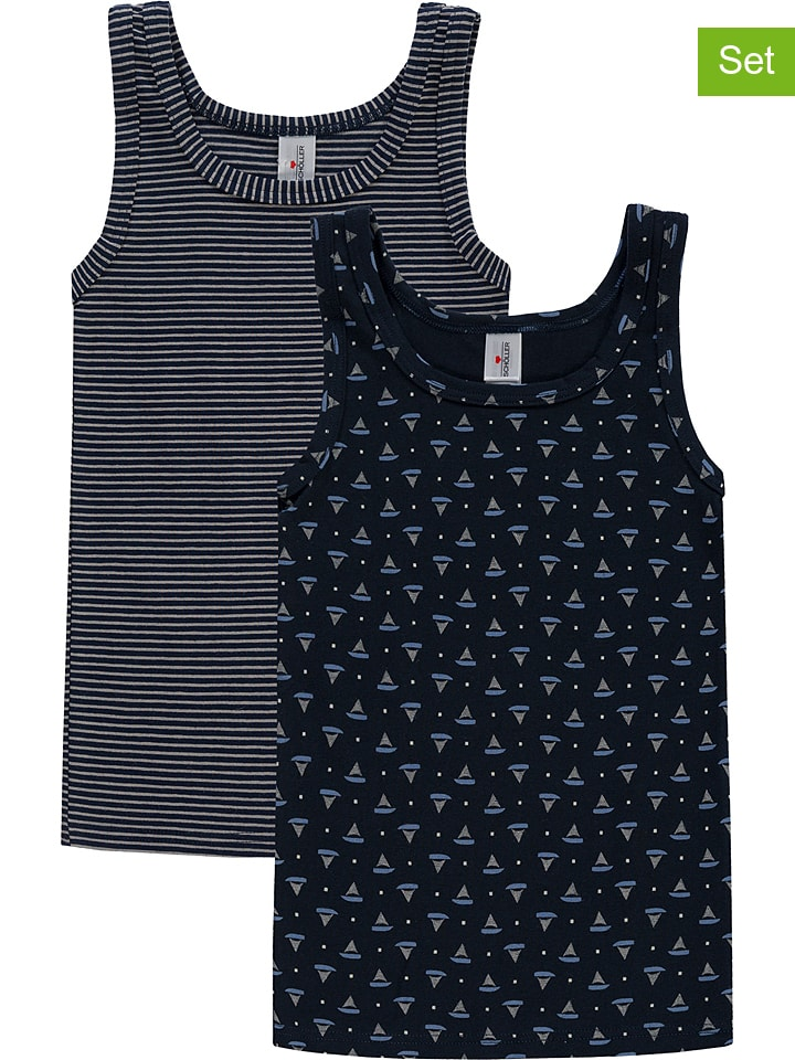 Schöller kids 2-delige set: onderhemden zwart/wit