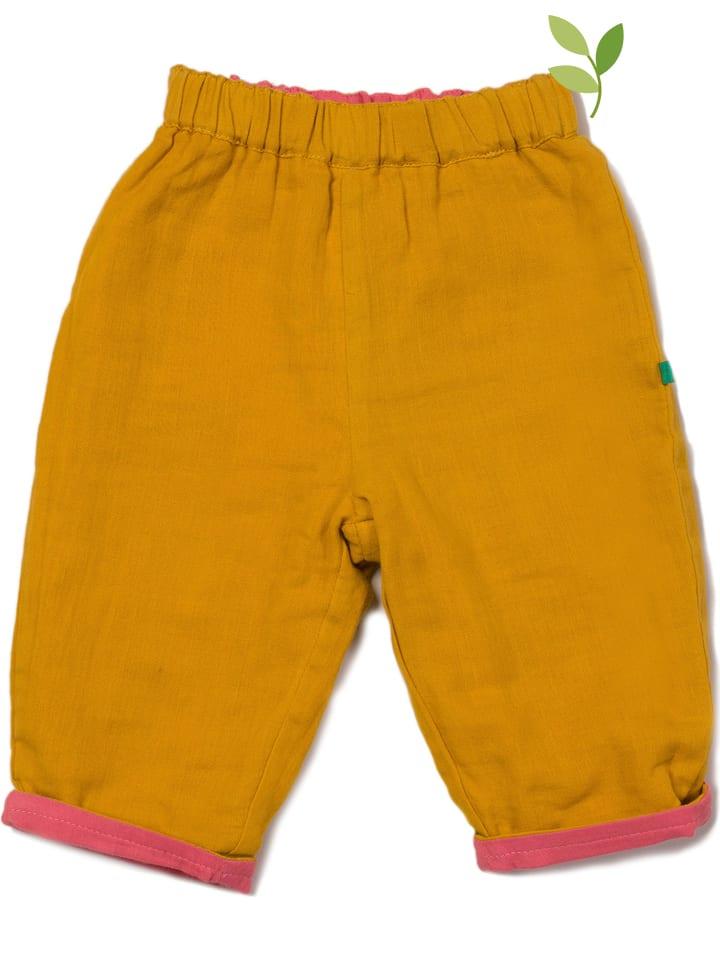 Little Green Radicals Dwustronne spodnie w kolorze żółto-różowym