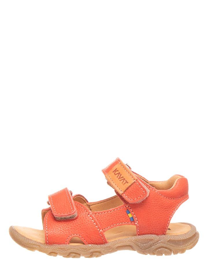 KAVAT Leren sandalen koraalrood