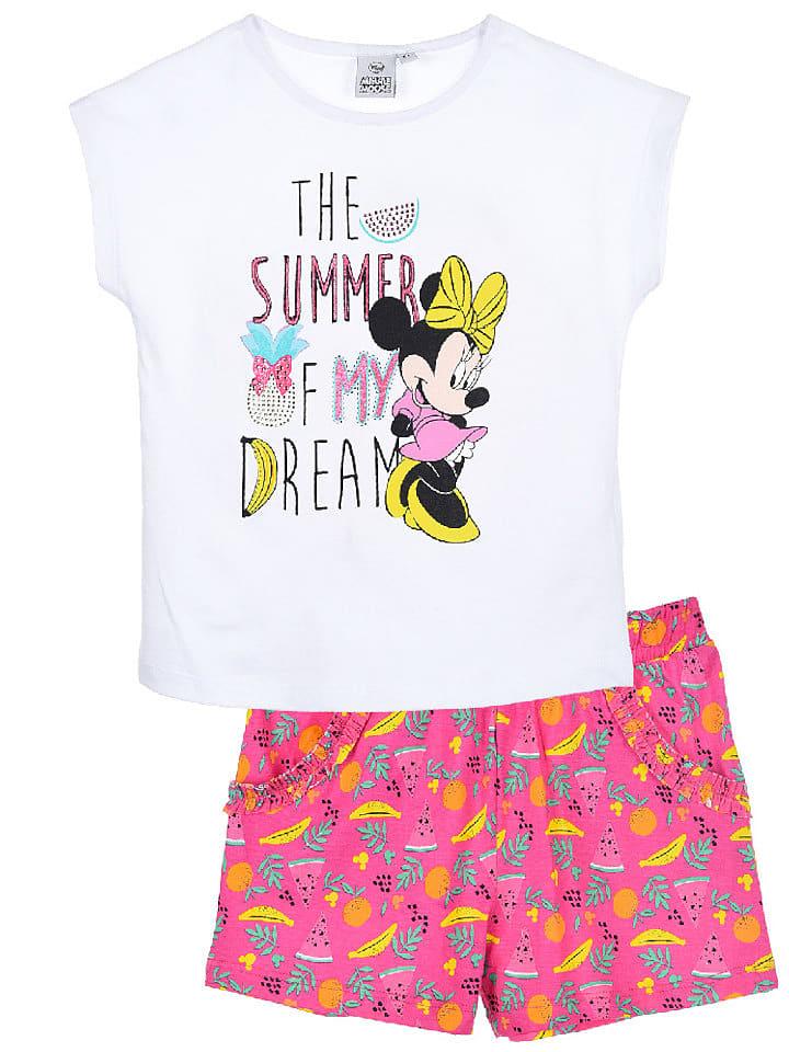 """Disney Minnie Mouse 2-częściowy zestaw """"Minnie Mouse"""" w kolorze biało-różowym"""