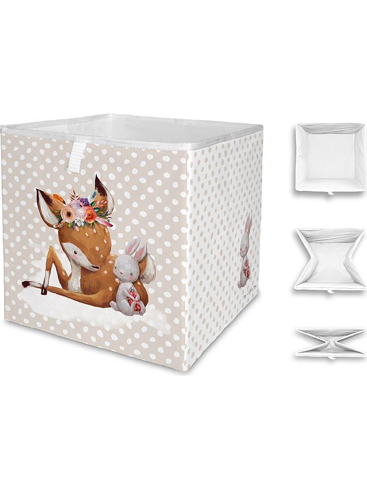 """Mr Little Fox Vouwbox """"Doe and her friend"""" beige/meerkleurig - (B)32 x (H)32 x (D)32 cm"""