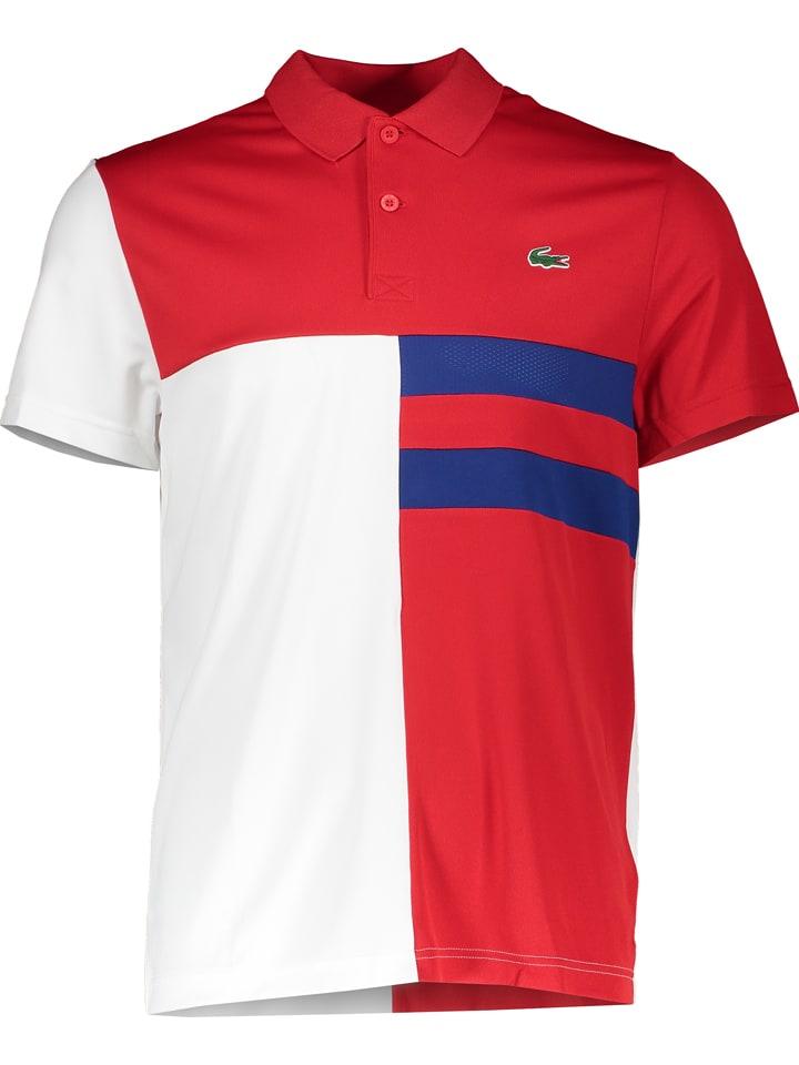 Lacoste Koszulka polo w kolorze niebiesko-czerwono-białym
