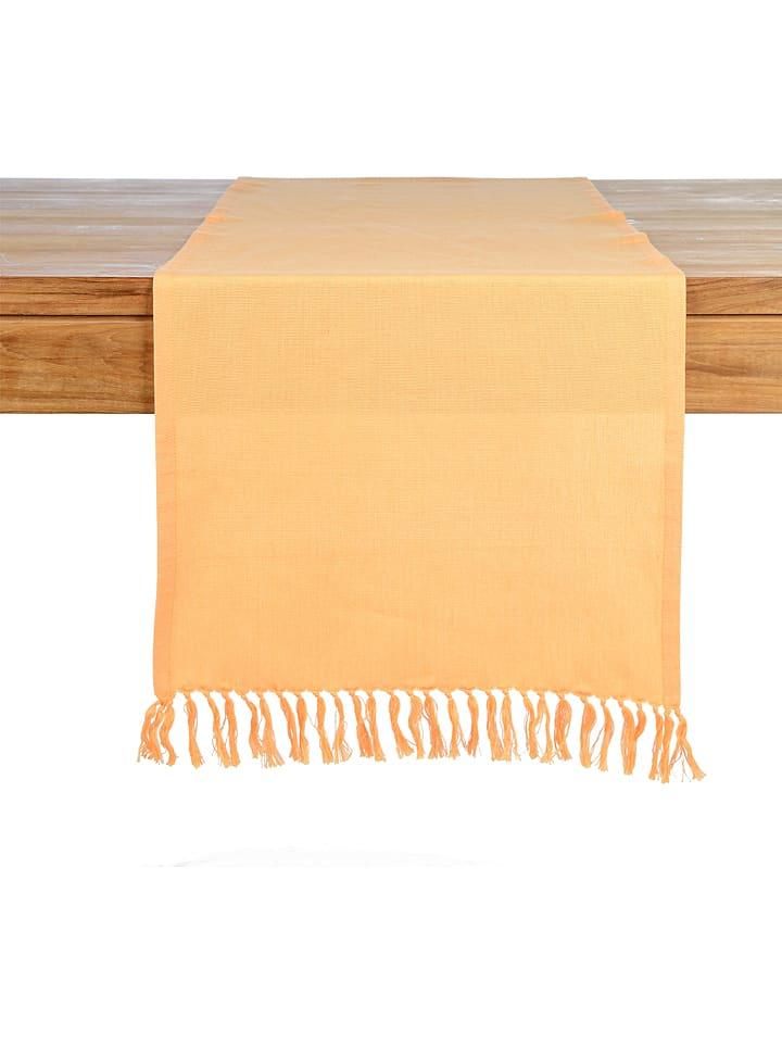 """Depot Bieżnik """"Fringe"""" w kolorze pomarańczowym - 150 x 40 cm"""