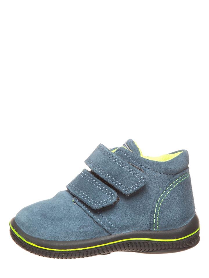Leder-Sneakers in Hellblau