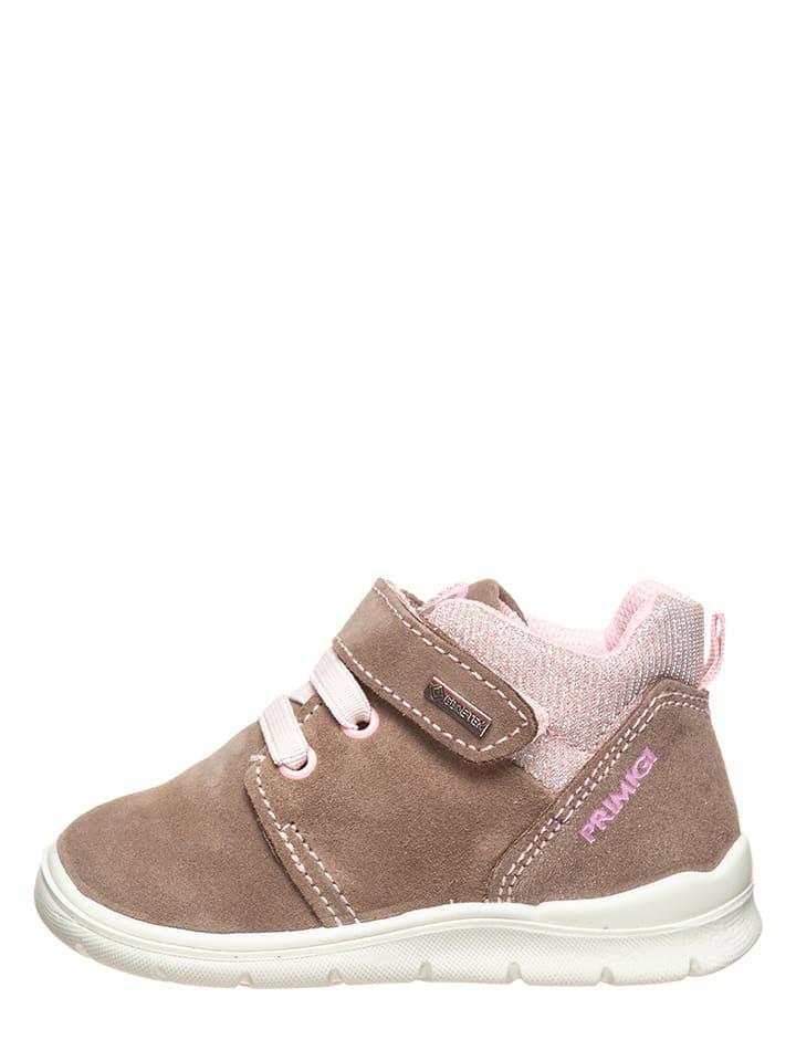 Leder-Sneakers in Hellbraun/ Rosa