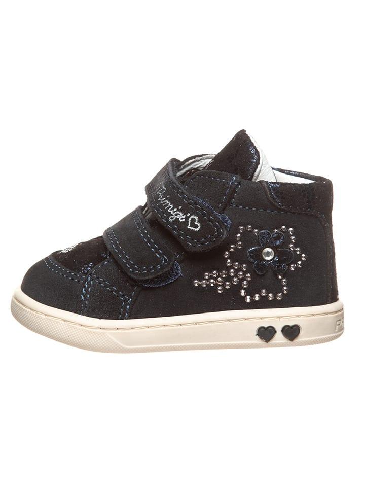 Leder-Sneakers in Dunkelblau