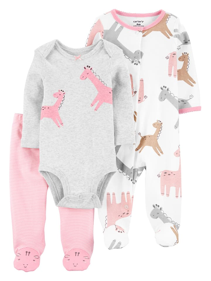 Carter's 3tlg. Outfit in Grau/ Weiß/ Rosa