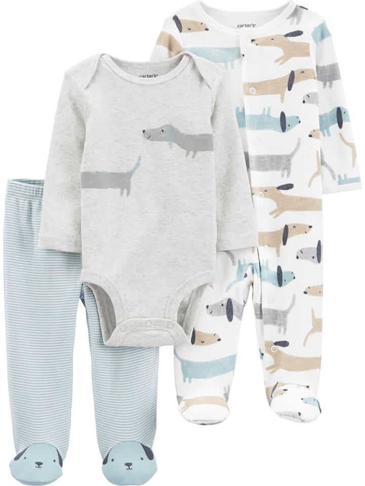 Carter's 3tlg. Outfit in Grau/ Weiß/ Hellblau