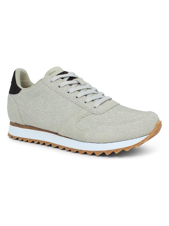 """WODEN Leren sneakers """"Ydun Pearl II"""" beige/zilverkleurig"""