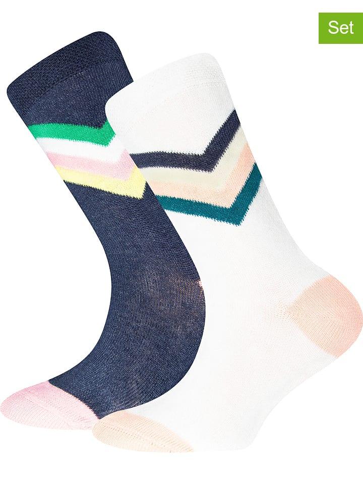 Ewers 4-delige set: sokken donkerblauw/wit