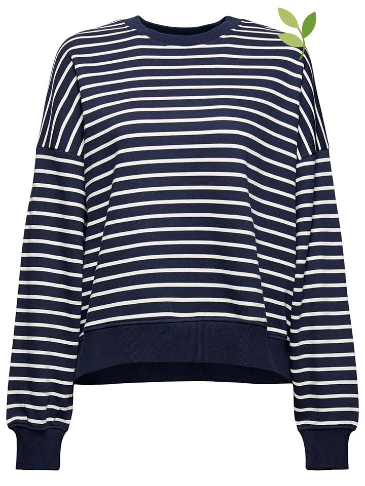 ESPRIT Bluza w kolorze granatowo-białym