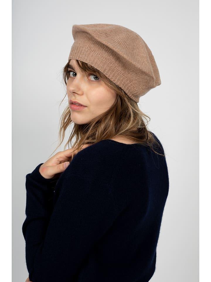 """Kaszmirowy beret """"Paris"""" w kolorze karmelowym"""