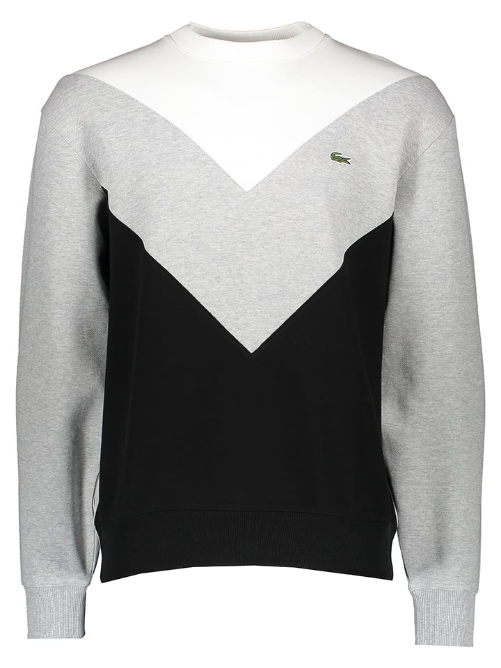 Lacoste Bluza w kolorze szaro-czarno-białym