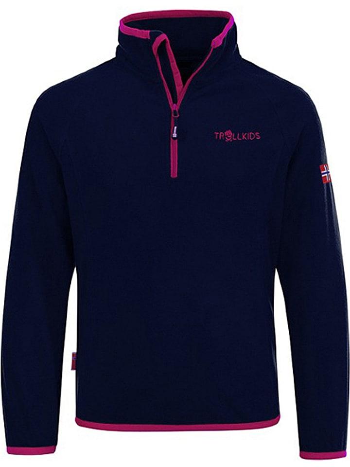 """Trollkids Fleece trui """"Nordland"""" donkerblauw/roze"""