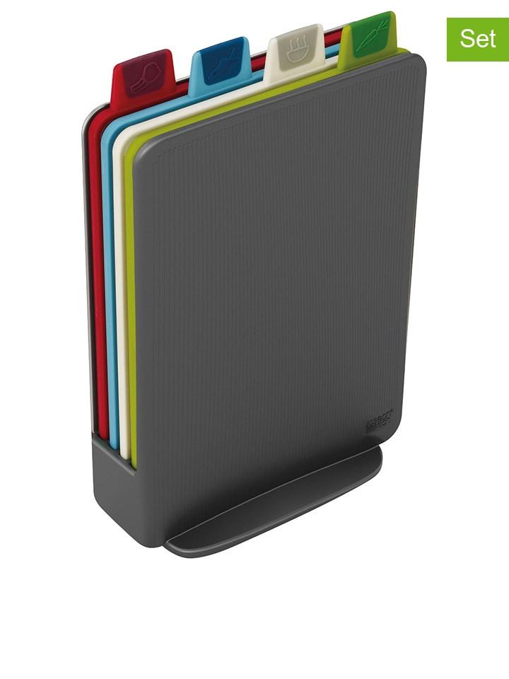 """JosephJoseph 5-częściowy zestaw """"Index Mini"""" w kolorze antracytowym ze wzorem do krojenia"""