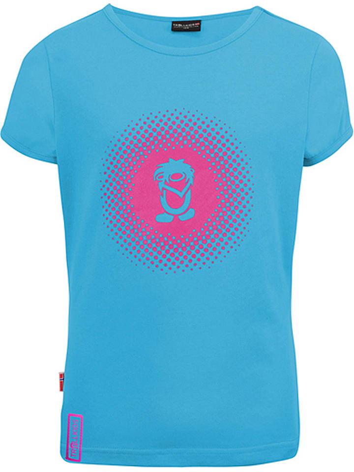 """Trollkids Functioneel shirt """"Logo"""" lichtblauw/roze"""