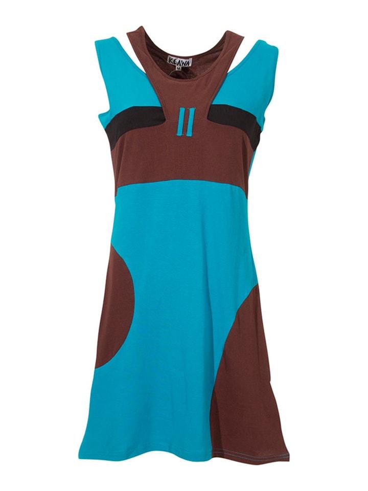 KÉAWA Sukienka w kolorze turkusowo-brązowym