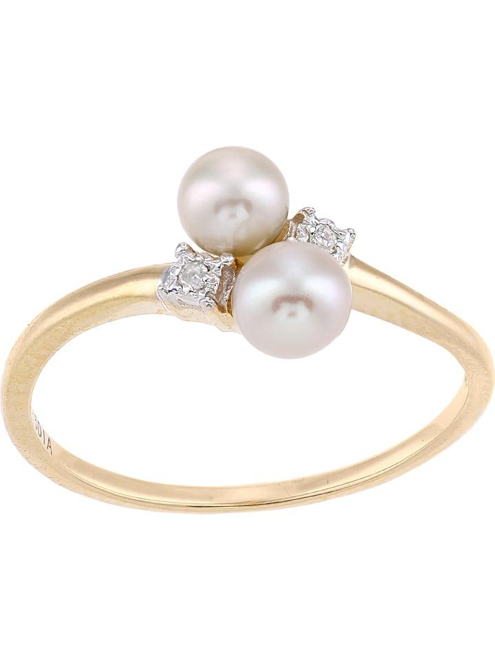 Złoty pierścionek z diamentami i perłami