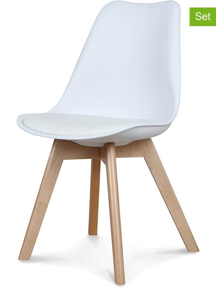 """2er-Set: Esszimmerstühle """"Scandinave"""" in Weiß - (B)48 x (H)83 x (T)43 cm"""
