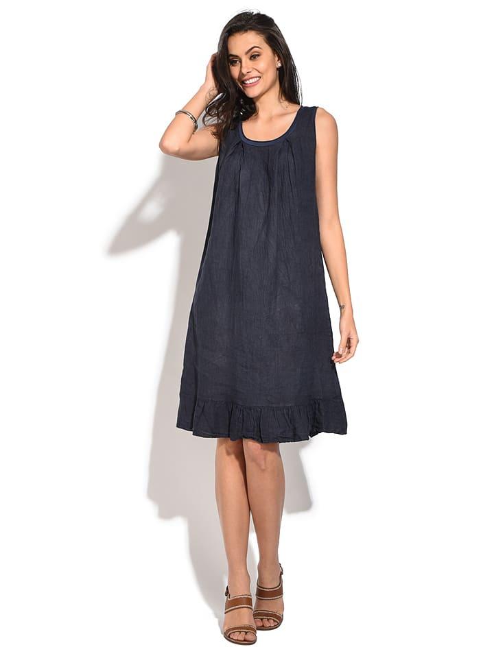 Le Jardin du Lin Linnen jurk donkerblauw