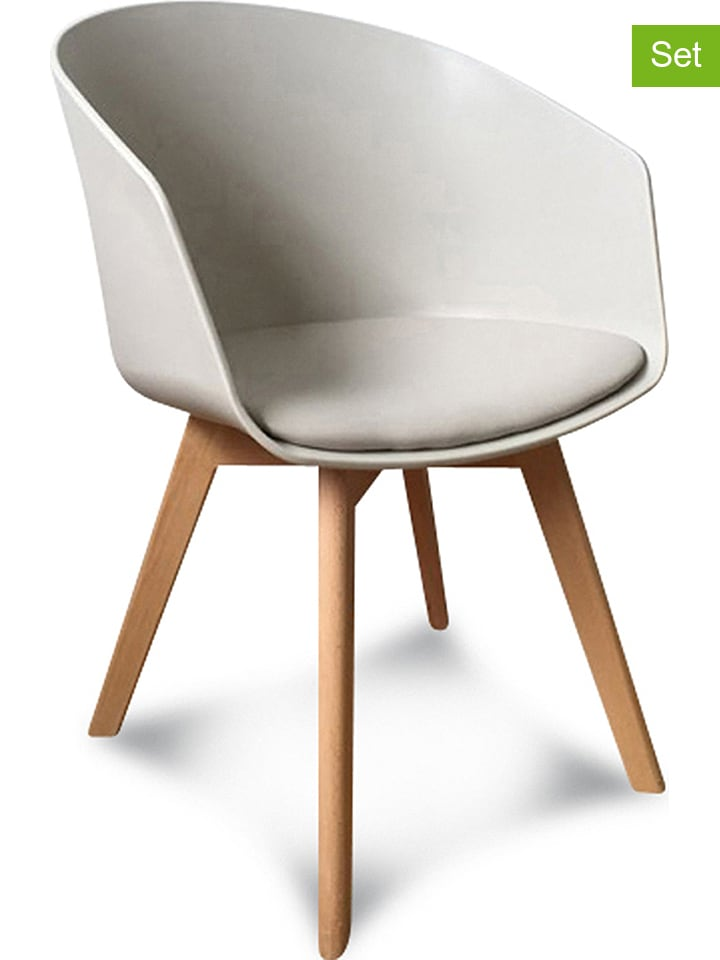 """2er-Set: Armstühle """"Scandinave"""" in Taupe - (B)51 x (H)78 x (T)53,5 cm"""