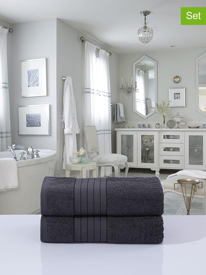 2-delige set: badhanddoeken antraciet