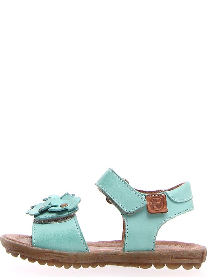 """Naturino Skórzane sandały """"Spring"""" w kolorze turkusowym"""