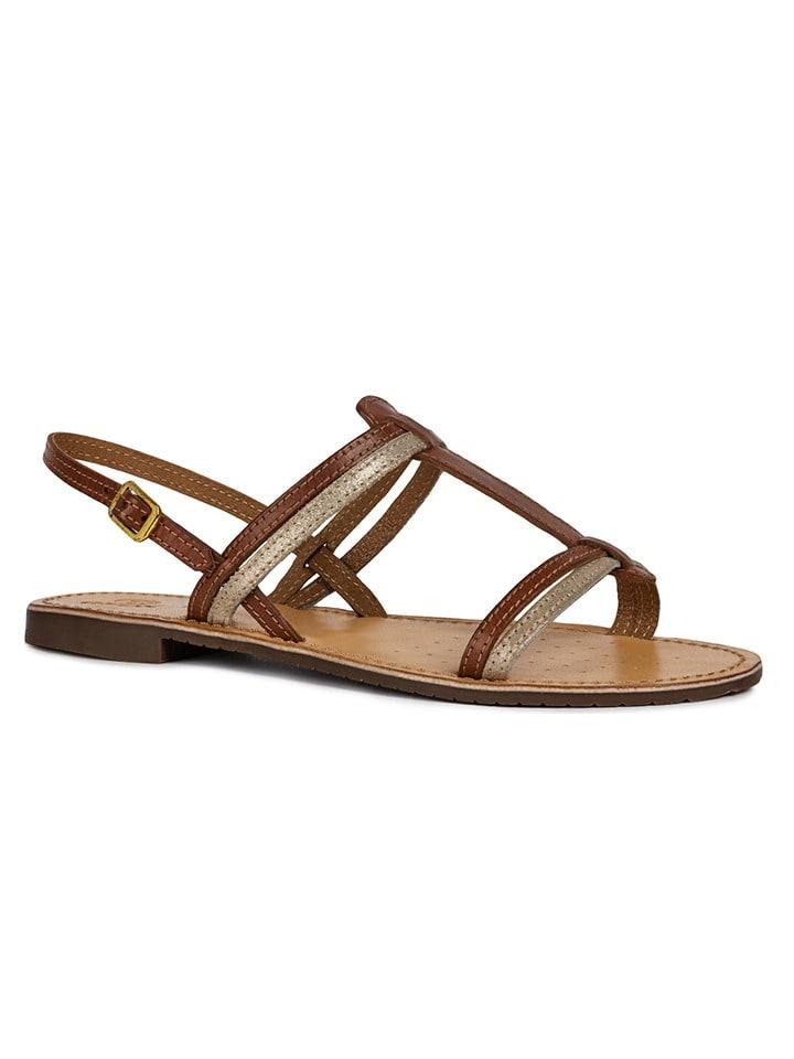 """Geox Skórzane sandały """"Sozy"""" w kolorze brązowym"""