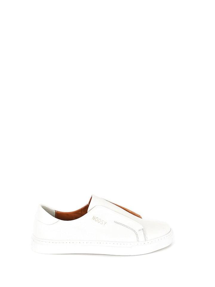 Noosy Skórzane slippersy w kolorze kremowym