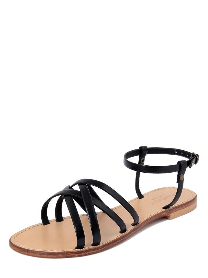 SUMMERY Leren sandalen zwart