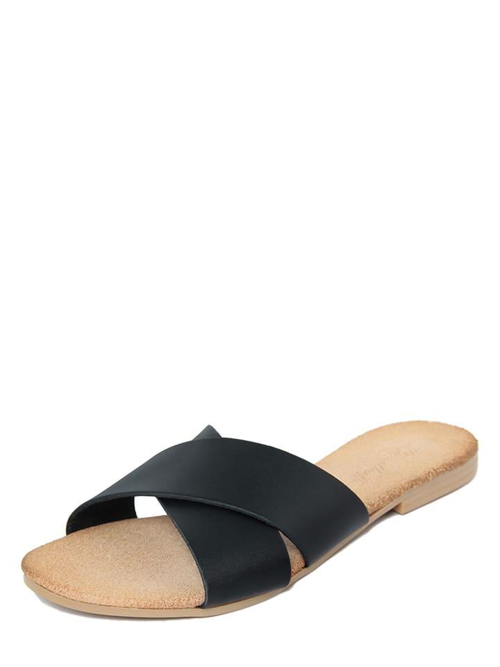 Leren slippers zwart