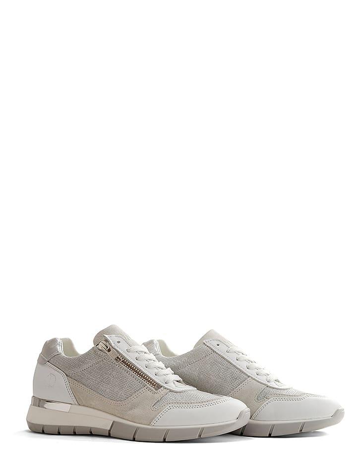"""NoGRZ Skórzane sneakersy """"B.Vittone"""" w kolorze biało-szarym"""