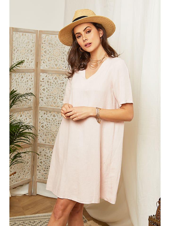 Lin Passion Leinen-Kleid in Rosé