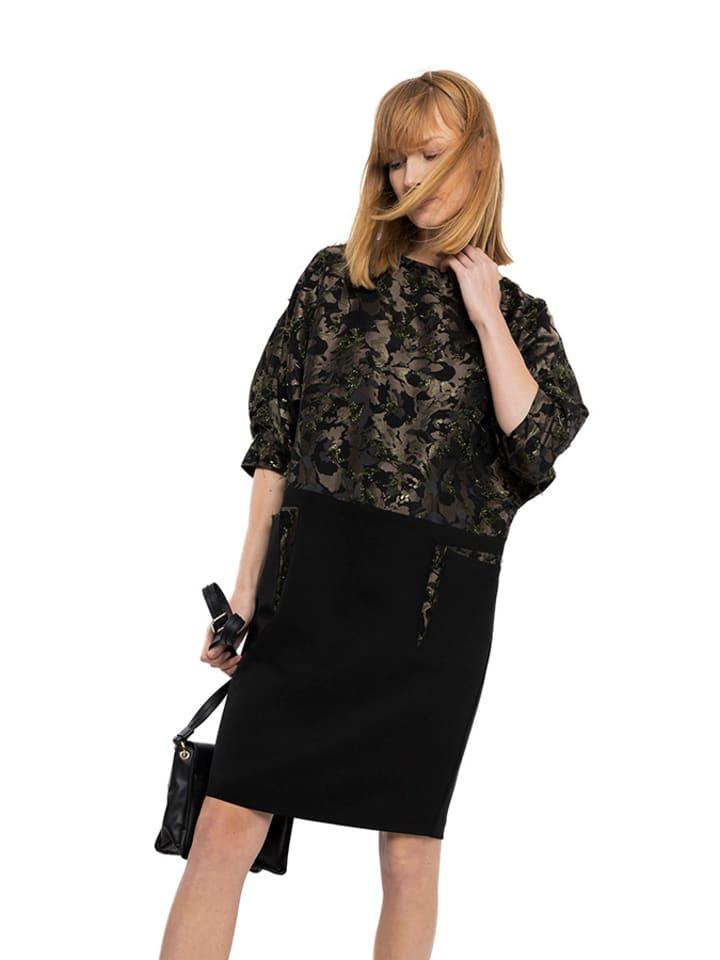 Deni Cler Sukienka w kolorze czarno-zielonym ze wzorem