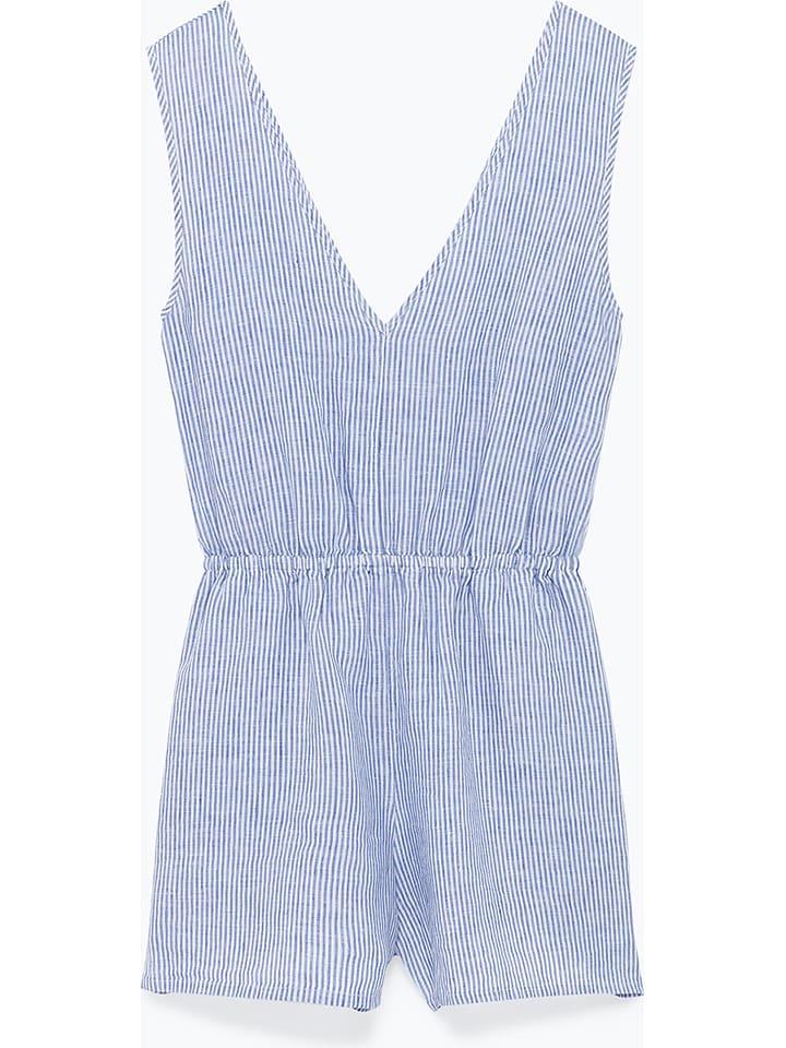"""American Vintage Linnen jumpsuit """"Mukadance"""" lichtblauw/wit"""