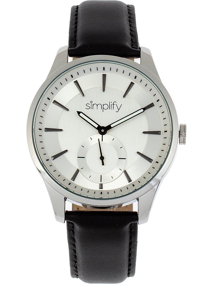 """Zegarek kwarcowy """"The 6600"""" w kolorze czarno-srebrno-białym"""