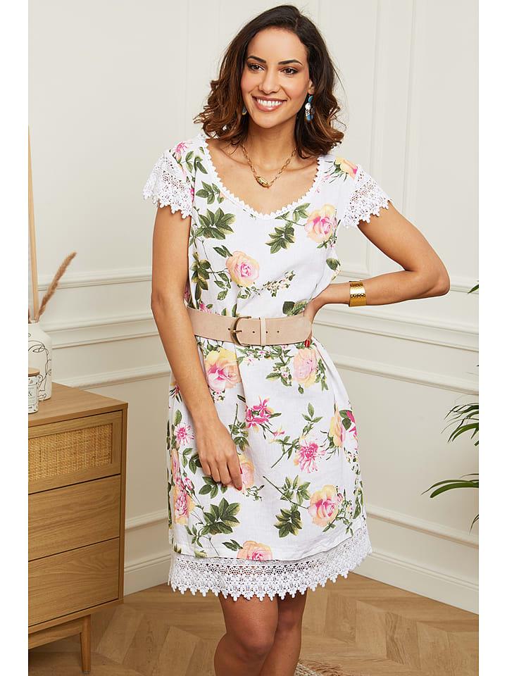 Le Monde du Lin Lniana sukienka w kolorze białym
