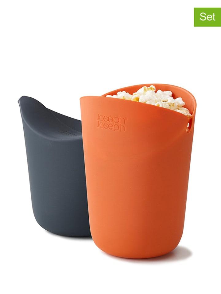2-delige set: magnetron-popcornmakers oranje/grijs - (H)14,5 cm