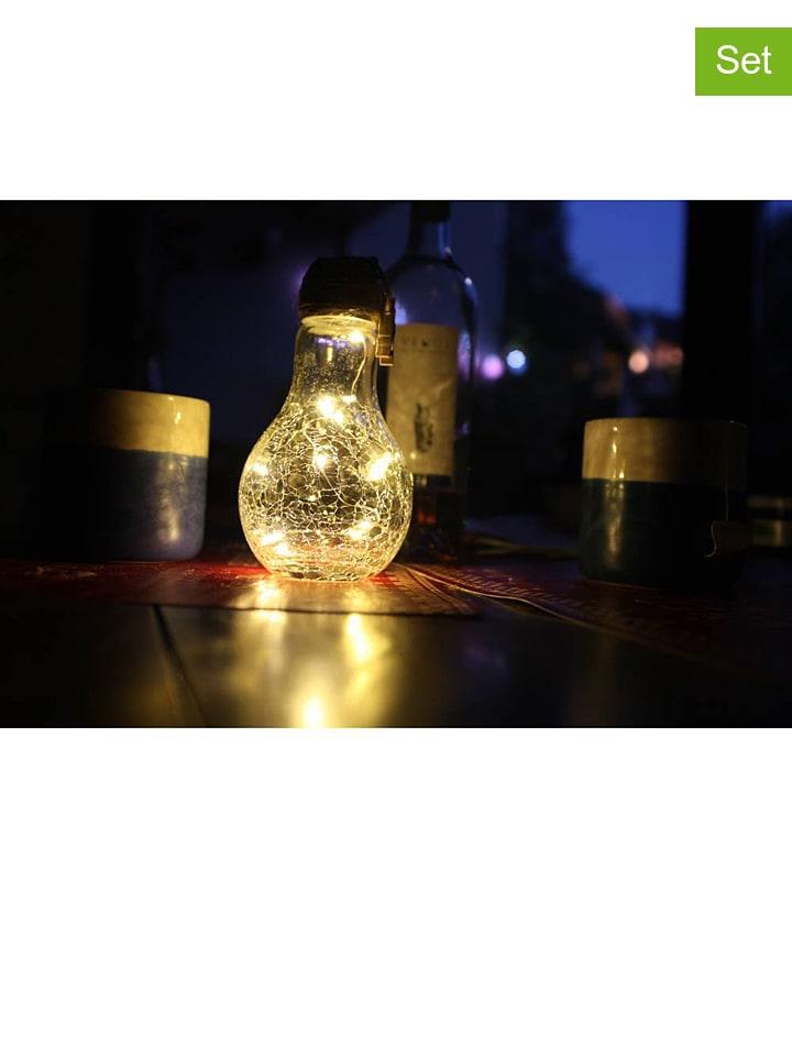 "Lumisky 3er-Set: LED-Solarleuchten ""Crack Edisun"" in Transparent/ Silber - (H)22 cm"