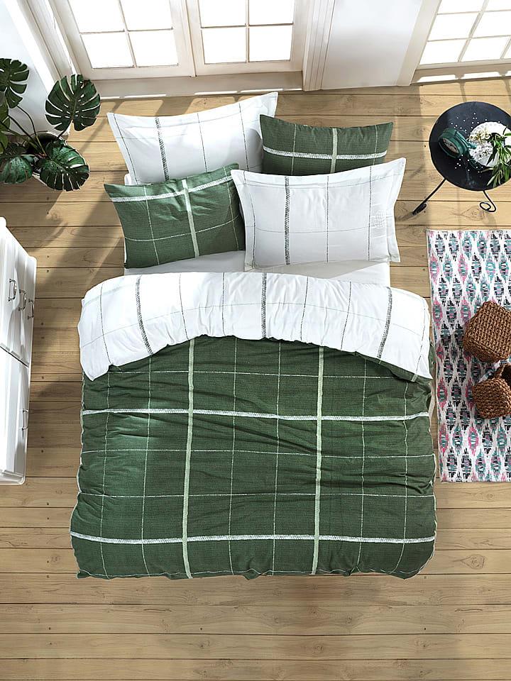 """Colourful Cotton Komplet pościeli renforcé """"Maya"""" w kolorze zielono-białym"""